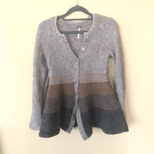 Free People Colorblock Wool Button Down Cardigan